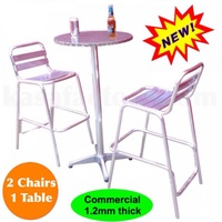 BAR TABLE AND BAR CHAIRS SET ALUMINIUM OUTDOOR CAFE RESTAURANT PUB COMMERCIAL!!!