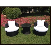 White 3pc PE Wicker Rattan Outdoor Pool Garden Sofa Lounge Furniture Set Setting