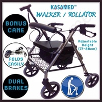 GENUINE KASAMED Foldable Rollator Walking Frame Mobility Walking Aid FREE CANE!!