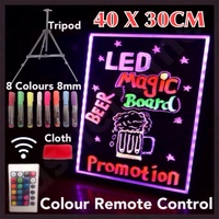 NEW 40X30CM LED WRITING BOARD NEON SIGN TRIPOD SIGNAGE FLUORESCENT LIGHT REMOTE