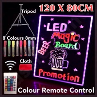 MASSIVE 120X80CM LED WRITING BOARD NEON SIGN TRIPOD SIGNAGE FLUORO LIGHT REMOTE!