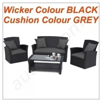 NEW GENUINE KASA BLACK &GREY 4 PIECE PE WICKER OUTDOOR SOFA LOUNGE FURNITURE SET