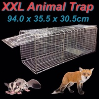 XXL HUMANE LIVE ANIMAL TRAP POSSUM FOX RABBIT HARE CAT CATCHER CAGE FOLDABLE
