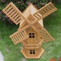 NEW 90CM WOODEN WINDMILL GARDEN ORNAMENT PLANT HOLDER OUTDOOR STATUE BIRD HOUSE!
