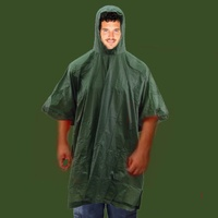 DARK GREEN EMERGENCY RAIN PONCHO WATERPROOF RAIN CAPE ONE SIZE FITS ALL REUSABLE