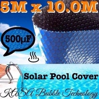 BLACK SOLAR SWIMMING POOL COVER 500 MICRON OUTDOOR BUBBLE BLANKET 10.0 X 5.0M
