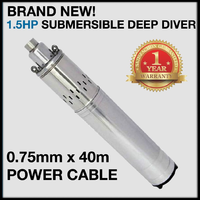 "NEW 1.5HP 80M DEEP DIVER 4"" BOREHOLE PUMP 40M CABLE"