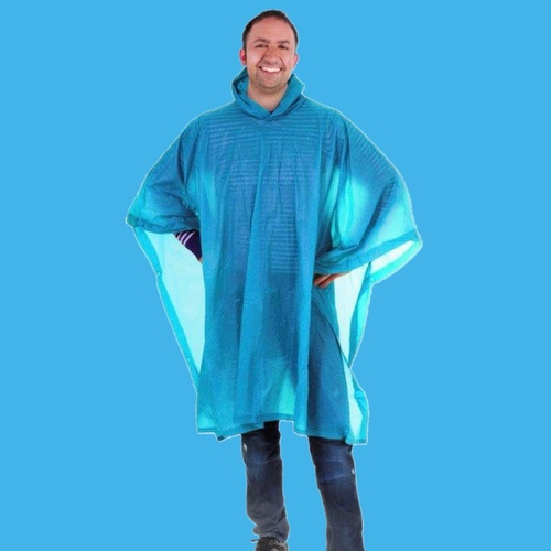 LIGHT BLUE EMERGENCY RAIN PONCHO WATERPROOF RAIN CAPE ONE SIZE FITS ALL REUSABLE