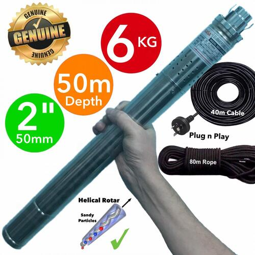 "2"" (50mm) 50M+ DEPTH Submersible Bore Water Pump Stainless Steel"