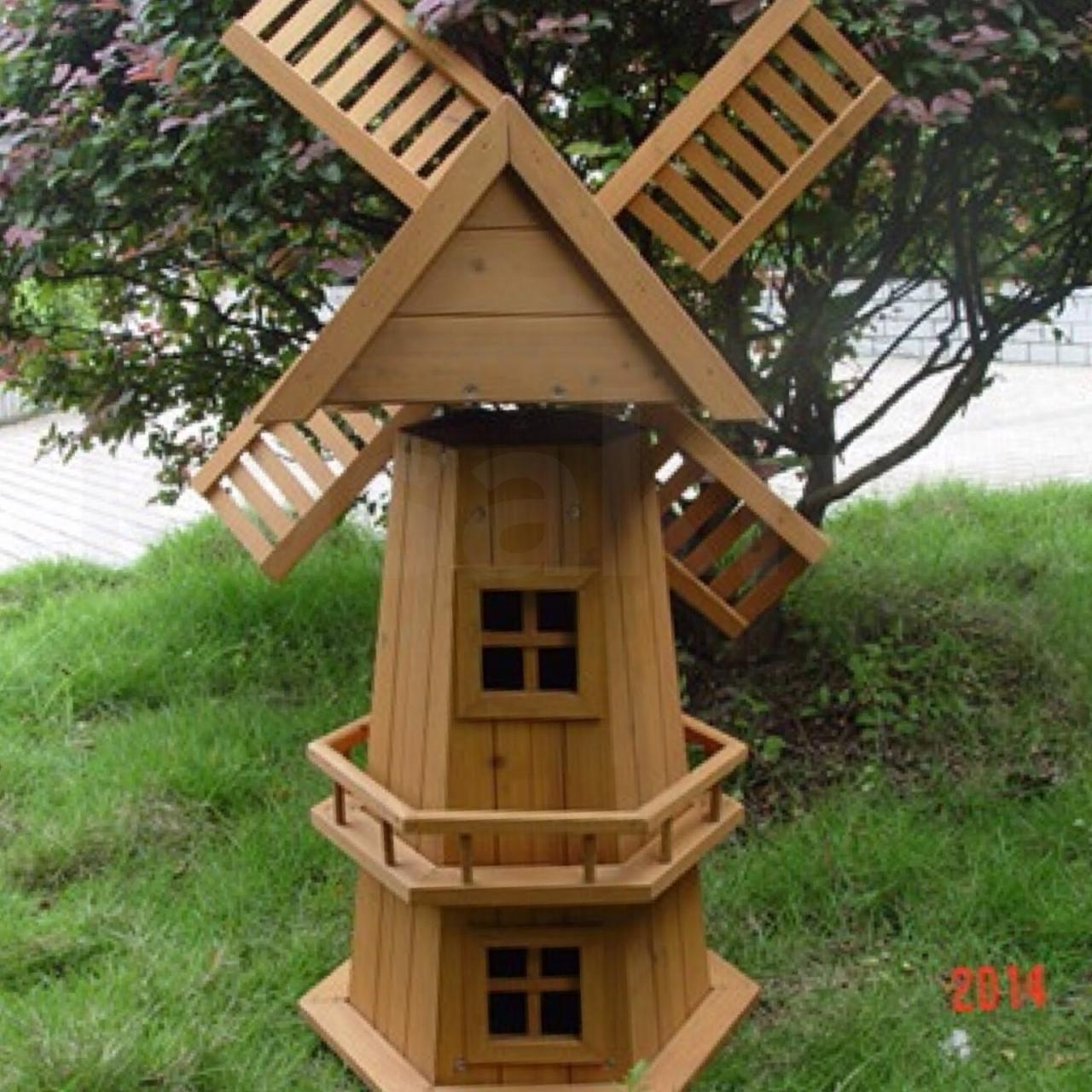 New 90cm Wooden Windmill Garden Ornament Plant Holder