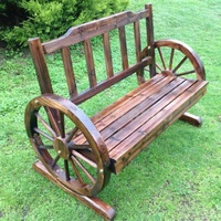 NEW GENUINE KASA FIR WOOD PARK GARDEN PATIO WHEEL BENCH 2 SEATER WOODEN BBQ DECK