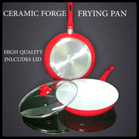 NEW RED CERAMIC FORGE FRYING PAN NON-STICK COOKWARE