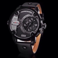 BLACK - BLACK UNISEX QUARTZ WEIDE SPORTS WATCH GENUINE LEATHER 30M WATERPROOF