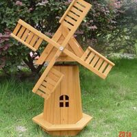 72CM OUTDOOR WOODEN WINDMILL MOVING BLADES PLANT HOLDER ORNAMENT