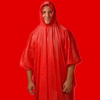NEW RED EMERGENCY RAIN PONCHO WATERPROOF RAIN CAPE ONE SIZE FITS ALL REUSABLE