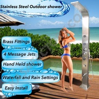 Quality Stainless Steel Outdoor Shower Plumbed Pool Garden Backyard beach