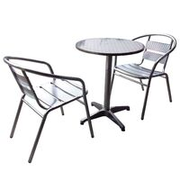 SET NEW PRO COMMERCIAL SERIES ALUMINIUM CAFE BAR TABLE AND CHAIRS SET