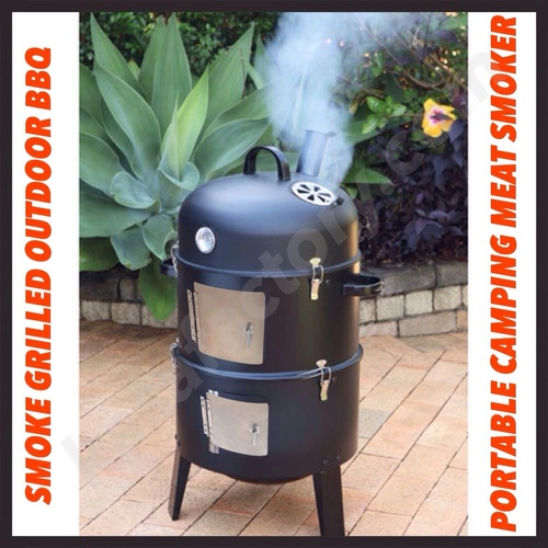 KASA BLACK BBQ CHARCOAL GRILL BARBECUE SMOKER GARDEN OUTDOOR COOKING MEAT SMOKE!